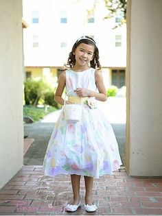 Yellow Sash Flower Patterned Cotton Girl Dress