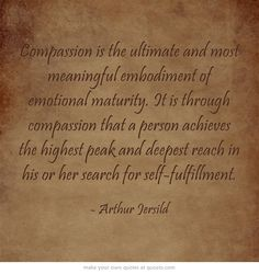 Compassion is the ultimate and most meaningful embodiment of emotional maturity. It is through compassion that a person achieves the highest peak and deepest reach in his or her search for self-fulfillment.http://dailymilestones.blogspot.co.nz/2013/03/moving-from-me-to-we.html