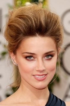 Amber Heard wearing Hourglass Cosmetics at the 71st annual #GoldenGlobes Awards. #Beauty #Makeup