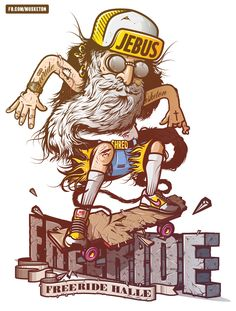 "It takes a classic historical figure, punkify him, and then have ""Jebus"" rail grid with a cross skateboard like a pro. It speaks to the rebel in us all. Jebus lives to free ride and quite frankly don't we all? Great Vector Illustrations 