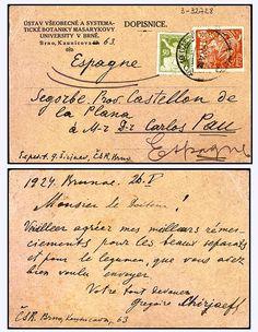 Postal escrita por Gregorie Cheriaeff en la que le agradece al botánico Carlos Pau el envío de unas separatas sobre legumbres. (AIBB).     http://aleph.csic.es/F?func=find-c&ccl_term=SYS%3D000032728&local_base=ARCHIVOS