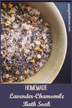 Lavender-Chamomile Bath Soak Recipe - No Fuss Natural Belleza Diy, Bath Salts Recipe, Homemade Beauty Products, Beauty Recipe, Belleza Natural, Herbalism, Healing, Lavender Oil, Lavender Bath Salts