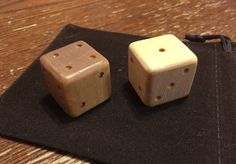Set of Handmade Wooden Dice 2 Count 1 Inch by RedStarArts