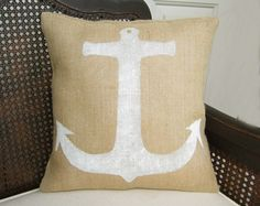 Anchor - Burlap Pillow - Nautical Pillow - Anchor Pillow