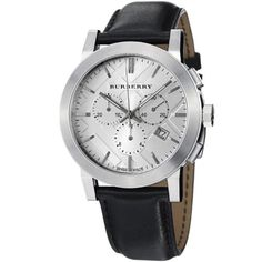 Burberry Women's BU9355 Large Check Black Leather Strap Chronograph Watch - Rellek Jewelry