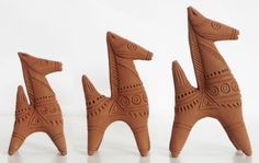 Three Terracotta Bankura Horse (Terracotta))