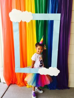 Rainbow unicorn party photo booth