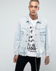 Bershka Oversized Denim Jacket In Light Blue