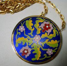 Cloisonne Enamel Medallion on Gold Chain by VintageStarrBeads
