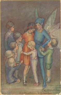 Peter Pan and Tinkerbell with Wendy and children, by Hilda Miller