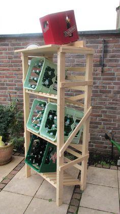 Getränkekistenregal, Prototyp. Der hält für immer und ist ökologisch aus FSC Holz gebaut. Ich habe bisher schon viele individuell angepasste Versioneb in verschiedenen Größen erstellt.