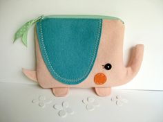 Wee Elephant Pouch in Pink by blueberrybandit on Etsy, $32.00
