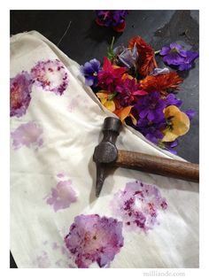 Flower Pounding TUTORIAL , Eco Dyeing Natural Textiles at milliande.com, Using Natrual Fibre and CLoth to release Flower Pigments into Cloth , Step by Step Tutorial with Iron Tannin Dye Bath