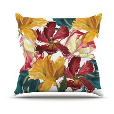 Kess InHouse Lydia Martin Flower Power Floral Rainbow Indoor/Outdoor Throw Pillow - LM1014AOP0