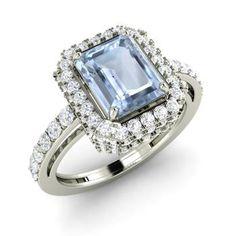 Emerald-Cut Aquamarine Halo Ring in 14k White Gold with SI Diamond