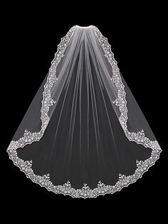 Bridal Veil of Silver Embroidered Lace with Beads and Rhinestones #wedding