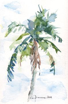 New palm tree painting artists Ideas Beach Watercolor, Watercolor Trees, Watercolor Landscape, Floral Watercolor, Watercolor Paintings, Tree Paintings, Watercolors, Abstract Landscape, Palm Tree Drawing