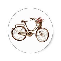 Paris Vintage Bike Bicycle Basket Flowers Roses Sticker