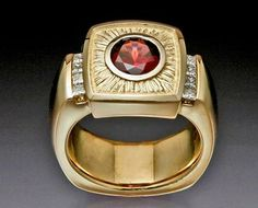 14ky gold ring with Rhodalite Garnet and Diamonds