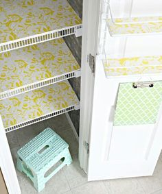 Shelving ideas....use foam board or particle board and contact paper to line open metal shelves.