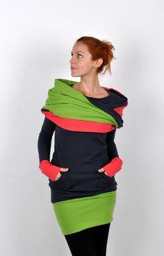 """ScarfiX+grey/colours+Dlouhá+mikina/zimní+šaty+s+našitým+multifunkčním+""""zahřívadlem"""":-)+Lze+jej+nosit+různými+způsoby.(límec,kapuce,šála...)+Neokoukatelný+luxusní+kousek+z+příjemného+úpletu+(bavlna,elastan).+K+dispozici+vel+S,M,L"""