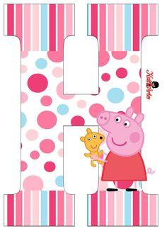 Alfabeto de Peppa Pig con Perrito. - Oh my Alfabetos! Pig Birthday, 4th Birthday Parties, Familia Peppa Pig, Pippa Pig, Cumple Peppa Pig, Peppa Pig Family, Pig Party, Party Items, Birthdays