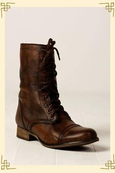 Sigh. What a beautiful cognac. Think I could pull this off? Steve Madden Troopa Combat Boot. @Lauren Black