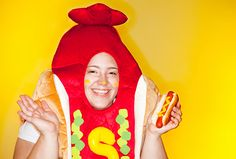 5 Ways to Throw a Hot Dog-Themed Party — Yummy Dogs Hot Dog Halloween Costume, Hotdog Costume, Dog Themed Parties, Hot Dog Toppings, Food Costumes, Hot Dog Cart, Hot Dog Recipes, 5 Ways, How To Stay Healthy