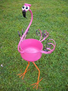 """Artist: Ann Kay - """" Flamingo: One 1/2 refrigeration tank for body, barn door hinge for head, scrolls for wings and tails, rebar feet and legs. Approximately 32 inches tall.""""  #artsintheheart"""
