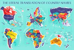 """Beautifully Designed Map Shows the Literal Translations of Country Names: """"Place of Abundant Fish"""" (Panama), """"Land of Many Rabbits"""" (Spain), and More   Open Culture"""