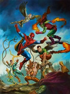 Spider man vs the Sinister Six plus the Green Goblin by Boris Vallejo and Julie Bell