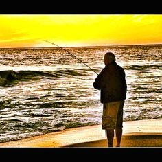 Fisherman on San Clemente Beach at Sunset