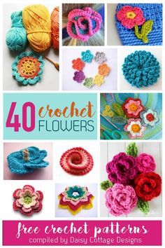 40 bright and beautiful Free Flower Crochet Patterns compiled by Daisy Cottage Designs.