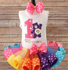 Check out this item in my Etsy shop https://www.etsy.com/listing/266556709/care-bear-birthday-tutu-outfit-harmony