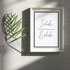 Inhale Exhale Poster Printable Digital PDF Wall Art A3 & A4 | Etsy Boho Ideas, Inhale Exhale, Yoga Art, Home Printers, A4 Size, Minimalist Poster, Typography Poster, Printable Wall Art, A3
