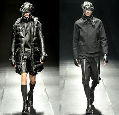 99%IS- by Bajowoo 2014-2015 Fall Autumn Winter Mens Runway Looks - Mercedes-Benz Fashion Week Tokyo Japan Catwalk Fashion Show - Black Apocalyptic Dark Shorts Zippers Leather Down Bomber Jacket Puffer Trench Coat Motorcycle Biker Rider Cargo Pockets Cropped Gloves Mask Straps Crop Top Midriff Kilt Manskirt Jumpsuit Coveralls Dungarees Bib Brace Turtleneck Sweater Jumper Vest Waistcoat Trousers Pants Skinny Multi-Panel Metallic Studs Nautical