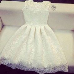 Charming and Pretty Lace Round Neckline Knee Length Lace Party Dress, White Lace Dresses, Lace Prom Dress, Handmade Lace Dress Elegant Prom Dresses, Lace Party Dresses, Pretty Dresses, Homecoming Dresses, Beautiful Dresses, Short Dresses, Formal Dresses, Wedding Dress, Beautiful Dream