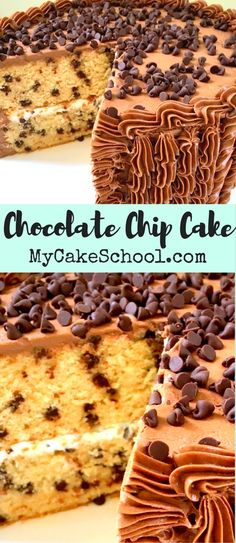 AMAZING Chocolate Chip Cake recipe from scratch! You'll love the hint of brown sugar flavor. So moist and delicious! From My Cake School's Cake Recipes section!
