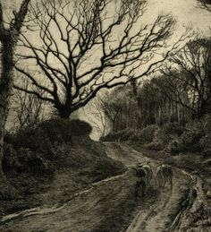 'A Winter Evening' by Fred Slocombe, 1882 (etching)