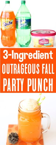 Party Punch Recipes Nonalcoholic Orange Fall Punch Recipe! Just 3 ingredients and you've got the drink your friends and family will go CRAZY for! Go grab the recipe and give it a try!