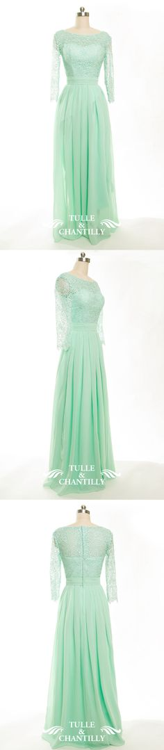 mint lace bridesmaid dress with long sleeves for mint green colored weddings