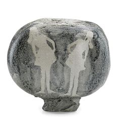 """PAUL SOLDNER (1921 - 2011) Small raku-fired vessel with figural silhouettes, USA, 1970s 9 1/4"""" x 10"""""""