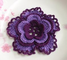 Larger Crochet Flower in deep burgundy/purple 31/4 от YHcrochet, $3.20