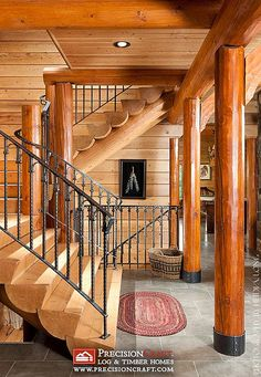 Log Home Custom Staircase | PrecisionCraft Log Homes by PrecisionCraft Log Homes & Timber Frame, via Flickr