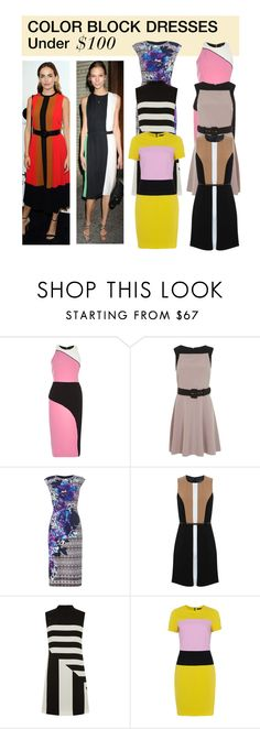 """Under $100: Color Block Dresses"" by polyvore-editorial ❤ liked on Polyvore featuring River Island, Miss Selfridge, Vince Camuto, Oasis, French Connection and under100"