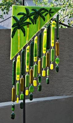 Image detail for -Wind Chimes Palm trees on top, greens/ yellows below Glass Wall Art, Fused Glass Art, Mosaic Glass, Stained Glass, Delphi Glass, Glass Wind Chimes, Shattered Glass, Glass Design, Glass Jewelry