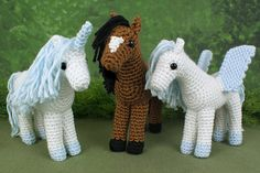 Horse, Unicorn & Pegasus #crochet patterns from @planetjune