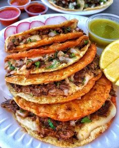 Hand-made Corn Tortillas Coated in Mozzarella Cheese & Topped w/ Birria food street videos cooking fast pizza tasty best mark wiens vlog tr I Love Food, Good Food, Yummy Food, Comida Diy, Junk Food Snacks, Food Obsession, Food Goals, Aesthetic Food, Food Cravings