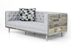 """Meet our new Cody version of our Koenig sofa. Our popular Koenig sofa has gone eco-modern. We've wrapped the frame inGrey Recycled wood veneer, with 7"""" matte"""