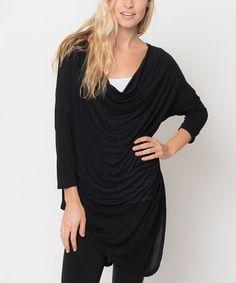 Look at this #zulilyfind! Black Asymmetrical Drape Tunic by Caralase #zulilyfinds